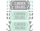 Name Labels, School Labels, Daycare Labels, Baby Bottle Labels, Waterproof Name Labels, Tribal, Arrows, Mint, Gray, Grey, Boy, Girl, Neutral