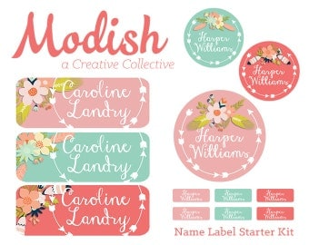 FAST SHIPPING! Girl Name Labels, School Pack, Daycare Pack, Camp Pack, Starter Pack, Waterproof, Dishwasher Safe, Clothing Tags, Tribal