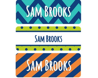 FAST SHIPPING! Name Labels, School Name Labels, Daycare Name Labels, Baby Bottle Labels, Boy, Waterproof, Chevron, Navy Blue, Orange, Teal
