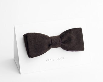 Brown bow tie for men, mens wool bow tie - double sided