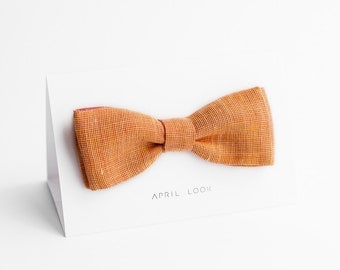Bow tie in peach and coral - double sided