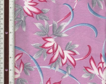 """Orchid Purple Background with Tropical Leaves - 46"""" L X 42"""" W - 100% Cotton Fabric"""