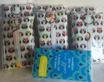 SALE! Set of 6 Travel Tissue Holder - Tissue Holder - Fabric Tissue Case. Cute Owl Print Tissue Holder. Does come with tissues.