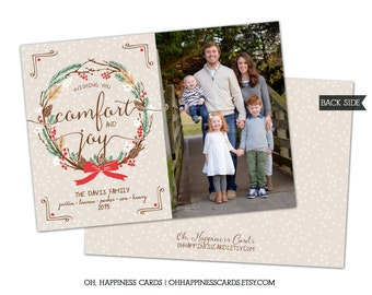 Holiday Wreath- Family Photo Christmas Card // Digital or Printed (FREE SHIPPING)