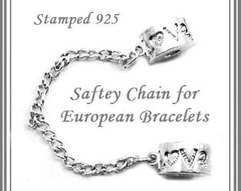 Stamped 925 - LOVE Safety Chain for European Bracelets - Shiny Silver Charm beads fit European Bracelets - MSC-Love