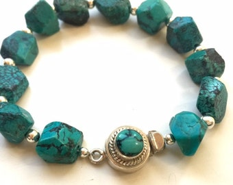 Turquoise Bracelet - Southwestern Gemstone Jewelry - Sterling Silver Jewellery - Beaded - Chunky - Fashion - Box Clasp