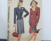 Simplicity 1207 // Authentic 1944 1940s Two-Piece Ladies Suit & Dickey with Fitted Blazer