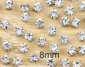 100 Pcs 8mm Sew on Glass Rhinestones.Glass Rhinestones