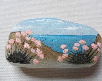 Clifftop thrift flowers - Original miniature painting on English sea glass