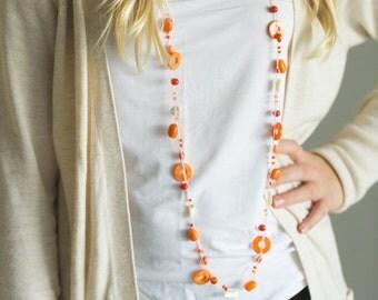 Orange and White Crochet Beaded Wrap Necklace -Boho Necklace