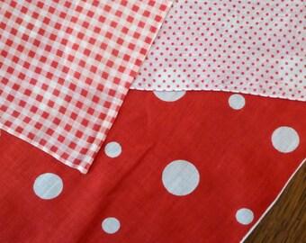 THREE Red White Handkerchiefs Dots Checks, Polka Dot Check Red White Hankies