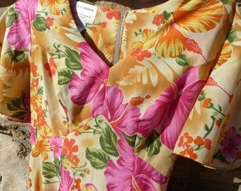 Royal Hawaiian Gold Yellow & Pink Long Dress Size 6, Vintage Hawaiian Long Luau Dress Pink Yellow Gold