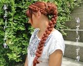 RAPUNZEL BRAID RENAISSANCE hair piece 50 cm/ 20'' long  C U S T O M color synthetic hair braid Medieval hair extension Boho Bride hair braid