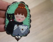 Woman with Black Cat, Felt Brooch, Fabric Brooch, Embroidered Felt Brooch