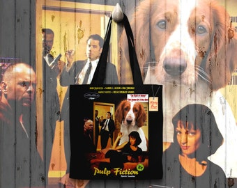 Welsh Springer Spaniel Art Tote Bag - Pulp Fiction Movie Poster   Perfect DOG LOVER Gift for Her Gift for Him