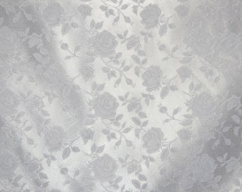 "White Jacquard fabric Satin Floral 58"" wide per yard"