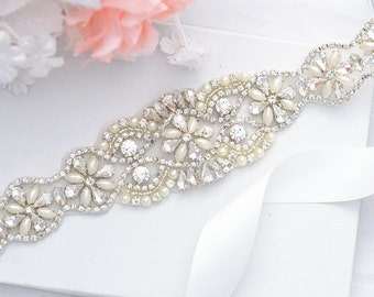 SALE Wedding Belt, Bridal Belt, Sash Belt, Crystal Rhinestone Sash , crystal & pearl