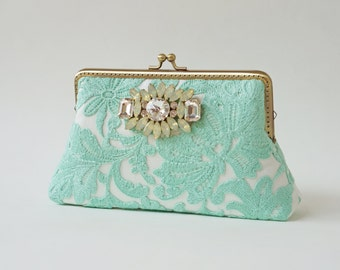 Green Lace Clutch / Wedding Party / Gift ideas / Vintage Inspired  - Ready To Ship