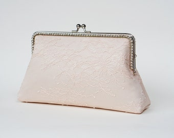 Champagne Blush romance clutch / Personalized wedding chantilly lace clutch purse / bridesmaid gifts / Mother of the bride / Bridal clutch