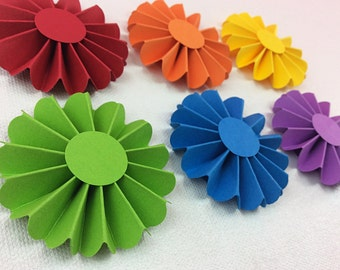 Tiny Rainbow Rosette Fans Set of 6: Rainbow Birthday Party, Paper Fan Rosette, 1st Birthday Girl, Noah's Ark Birthday, Art Birthday Party