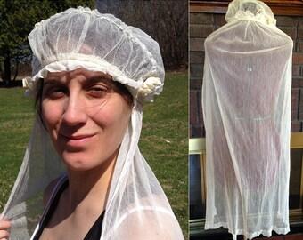 1920s Wedding Veil / Tulle Veil / Juliet Cap Veil / 1920s Wedding / Cap Wedding Veil / Beige Vintage Veil / Vintage Wedding