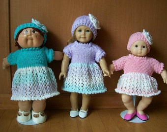 15) Knit Dress and Hat with a Flower Lace Design  Sleeves  15 or 18 Inch Doll   Variegated Yarn with Plain Yarn