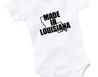 Made In Louisiana Onesie Bodysuit Baby Shower Gift Funny Geek Nerd Cute Sports Football Basketball Baseball