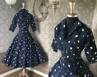Vintage 1950's Blue and White Polka Dot Drop Waist Dress XS