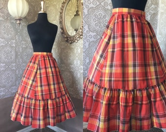 Vintage 1970's Red and Orange Plaid Skirt with Ruffled Hem Medium