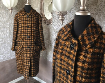 Vintage 1950's 60's Black and Brown Boucle Winter Coat Large