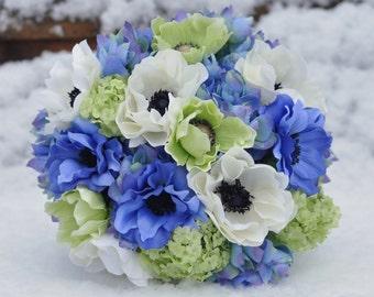 Wedding Bouquet, Lime Green Anemone,  Green Viburnum, Blue Hydrangea, Ivory Anemone Silk Flower Bouquet.