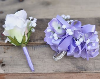 Prom Corsage and Boutonniere set made with Lilac Hydrangea, White Babies Breath and a White Rose Boutonniere.  Colors are customizable.