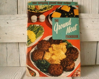 Vintage book Ground Meat Cookbook retro photos illustrations 1955