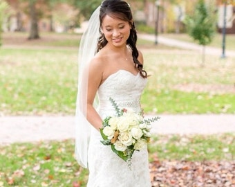 Ivory fingertip veil fingertip wedding veil