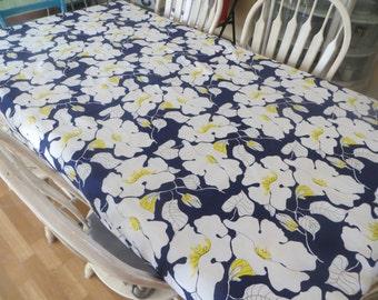 Vintage Vera Neumann Blue and Yellow Floral Tablecloth Vera Neumann Material Vera Fabric Table Linens