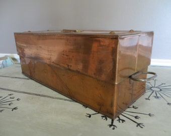 Antique Copper Storage Box Metal Box Large Copper Storage Industrial Storage Antique Metal Storage Copper Decor Rustic Copper Decor