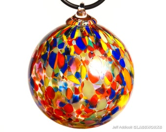 Hand Blown Glass Ornament - Multicolor Dots