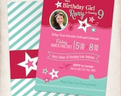 Girls Birthday, Doll Theme, Tea Party, Dolly & Me Birthday Party, DIGITAL FILE, Personalized Printable Invite -- Star Girl