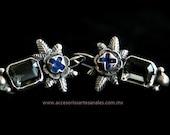 Filigree small blue earrings