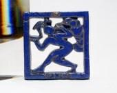 2 Moravian Art Pottery Tile FIRE & WIND - Bucks County Pennsylvania Studio Art - Dated - Signed Mercer Tile Studio Ceramics