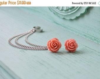 VALENTINES DAY SALE Dark Blush Rose Bloom Triple Silver Chain Ear Cuff (Pair)
