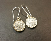 Gold and Silver Crystal Disc Earrings - Mixed Metals Two Tone Dangle Earrings - Pave Rhinestone Crystals