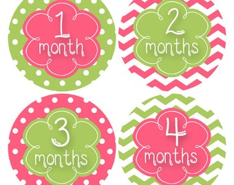 Baby Girl Month Sticker Baby Month Sticker Baby Stickers Monthly Milestones, Polka Dot Baby Stickers, Chevron Stickers Infant  (689)