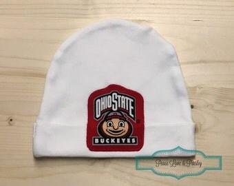 OSU Baby Hat Made from Ohio State Buckeyes Fabric, Buckeyes Baby, Baby OSU,  Baby Shower Gift, New Baby Gift, Garnet Baby Hat, Football Baby