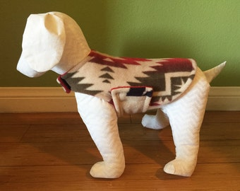 Fleece Dog Coat, Extra Small or Small, Tan, Red, Olive, Navy, and Gold Southwest Print Fleece with Red Fleece Lining