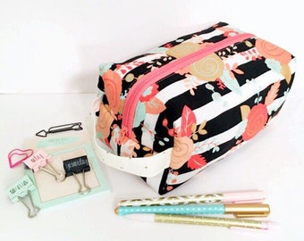 Cosmetic Bag with Floral & Stripes