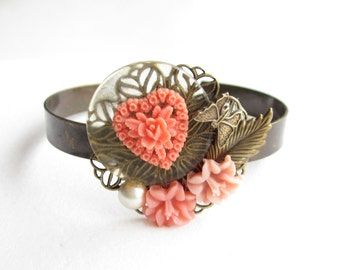 Armreif,Armband,bracelet,cuff,Hochzeit,wedding,Braut,bride,Vintage,koralle