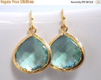 SALE Gold Aqua Earrings, Green Earrings, Erinite, Teal, Gold, Soft Green, Bridesmaid Earrings, Bridal Earrings Jewelry, Bridesmaid Gifts