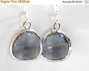 SALE Gray Earrings, Grey Earrings, Glass Earrings, Silver Earrings, Dainty, Charcoal, Bridesmaid Earrings, Bridal Earrings, Bridesmaid Gifts