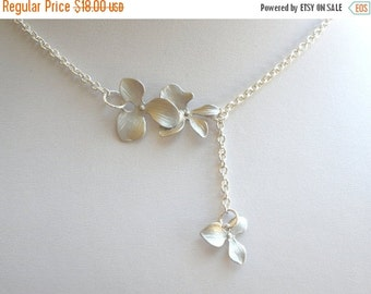 SALE Orchid Flower Necklace, Orchid Lariat Necklace, Triple, Silver Necklace, Wedding, Bridesmaid Gifts, Bridesmaid Gift, Silver Orchid Neck